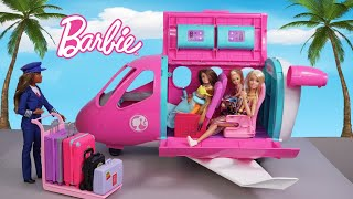 Barbie Sisters Airplane Travel Routine Story - Doll Airport Pretend Play
