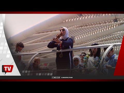 وصول جيانا فاروق بطلة مصر والحاصلة على الميدالية البرونزية واستقبال حافل بمطار القاهرة الدولي