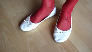 Well Worn White Leather Sabrinas And Red Nylons   Shoeplay