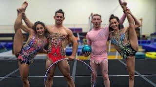 Men try Rhythmic Gymnastics! {COUPLES CHALLENGE}   Nile Wilson