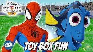 Spiderman And Dory Disney Infinity 3.0 Toy Box Fun Gameplay