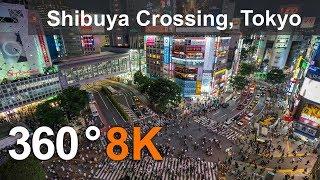 360 video, Shibuya Crossing. Tokyo, Japan. 8K video