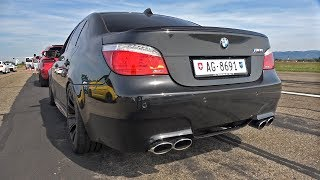 BMW M5 V10 E60 with Eisenmann Race Exhaust - REVS & DRAG RACING!