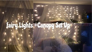 FAIRY LIGHTS + CANOPY BEDROOM SET UP