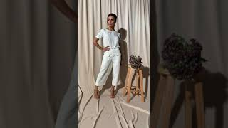 Vídeo Calça Pantacourt Viscose Gatos e Atos Off White