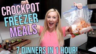 CROCKPOT FREEZER MEAL PREP | FREEZER MEALS | 7 DINNERS IN 1 HOUR