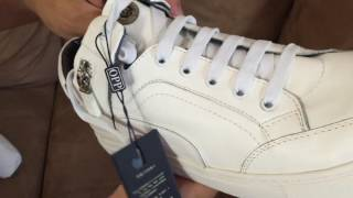 Unboxing OPP Mens Fashion Designer Shoes Casual Leather High-top Lace-up Sneakers