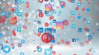 Royalty Free Footages   Social media floating icons background video   social media icons animation