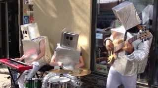 "Robot Street Musicians Performing Daft Punk's ""Giorgio by Moroder"" and ""Get Lucky"" (N3K Trio)"