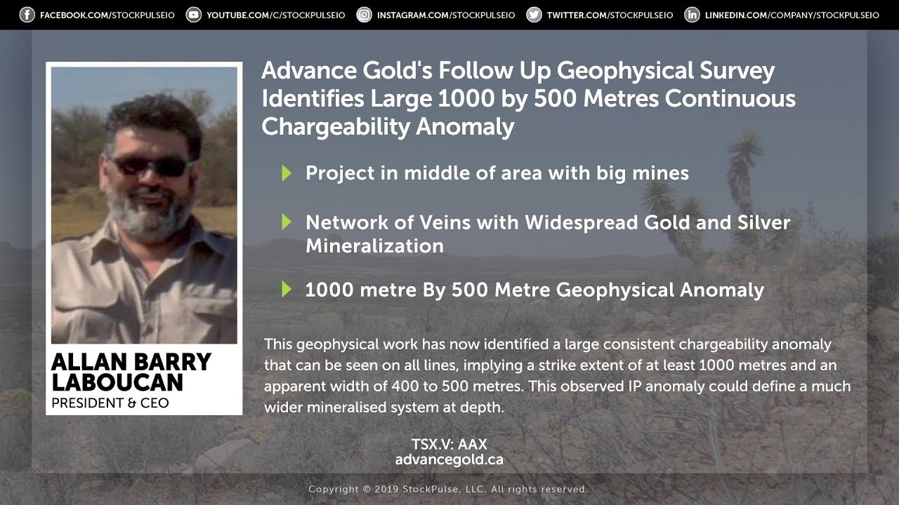 Advance Gold's Follow Up Geophysical Survey Identifies Large Continuous Chargeability Anomaly