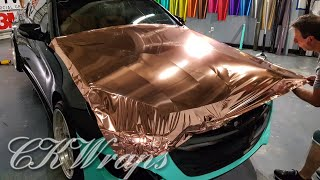 RV Aircraft Video - Professional level. How to vinyl wrap hood bonnet. Red chrome vinyl.