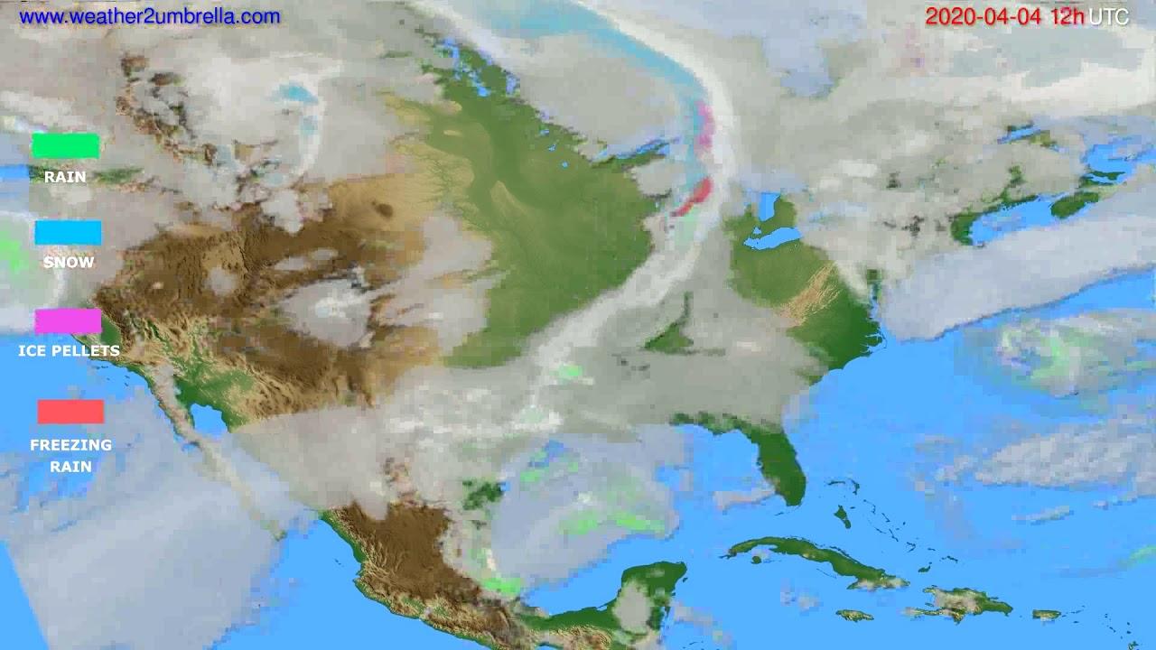 Precipitation forecast USA & Canada // modelrun: 00h UTC 2020-04-04