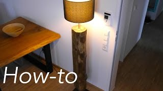 DIY Baumstamm Lampe selber bauen