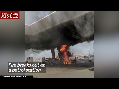 Fire breaks out at a petrol station