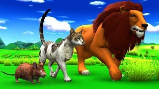 बिल्ली चूहा और शेर Kahani - Hindi Kahaniya - Panchatantra Moral Stories - Fairy Tales in Hindi