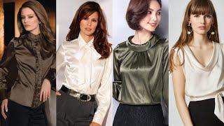 Fabulous Silk Satin Blouse Designs For Evening Wear//Formal Wear Blouse For Womens