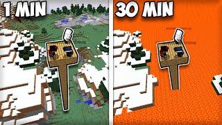Minecraft Survival, kde Láva stúpa každú minútu