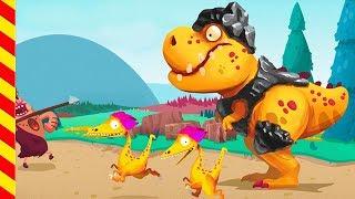 Динозавр для детей. Динозавры напали на людей. Сражение туземцев с динозаврами мультик для детей