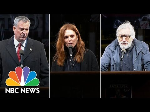 Robert DeNiro, Julianne Moore, Mayor Bill de Blasio Speak Out At Demonstration In NYC   NBC News