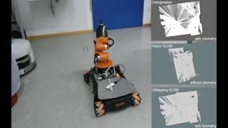 SLAM and autonomous navigation robot using ROS + kinect +
