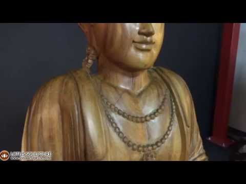 SOLD Wood Double Vitarka Mudra Buddha Statue 60