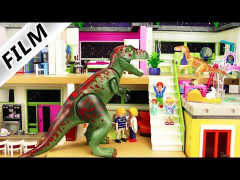 Playmobil Dinosaurier Film deutsch   T-Rex Angriff in der Luxusvilla bei Familie Vogel   Kinderserie