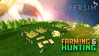How To Farm And Hunt! Best GOD EVER! The Universim Updated Gameplay E2
