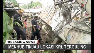Evakuasi Gerbong KRL Anjlok Tunggu Crane Dari Bandung Dan Cirebon