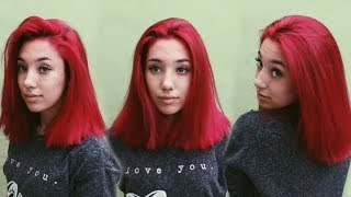BLEACHING + DYING MY HAIR PILLARBOX RED! (from purple)   ft. La Riche Directions