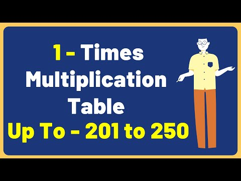 1 Times Multiplication Table up to 201 to 250 | Multiplication Time Table with Audio