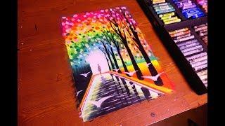 Colorful Divine & Heaven Gate Painting In Oil Pastel | Tutorial Art | Caran d'ache Neopastel