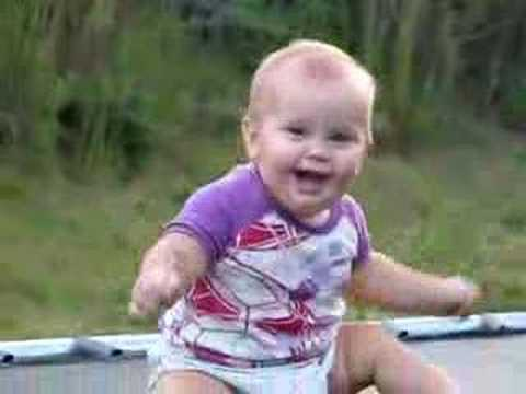 Cute baby enjoying trampoline – Funny Video