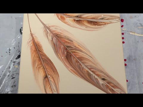 (140) Acrylic Pouring - Feather String Pull