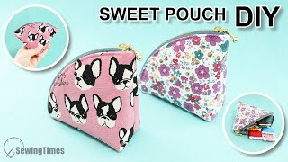 DIY SWEET POUCH BAG | Fan Shape Coin Purse Sewing Pattern & Easy Tutorial [sewingtimes]