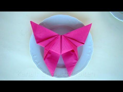Servietten falten: Schmetterling - einfache Tischdeko selber machen - DIY