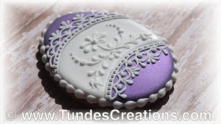Easter Egg Cookie With Flowers And Lace - Purple