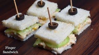 Finger Sandwich Recipe | Mini Sandwich | Tea Sandwich | Quick & Easy Sandwich Recipe