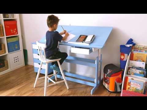 Schreibtisch und Rollcontainer für Kinder (blau) | TecTake