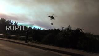 Portugal: Helicopters and firefighters battle wildfire ravaging forests near Coimbra