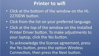Connect Brother HL-2270DW Printer to wifi