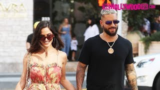 Maluma & Natalia Barulich Speak On Working With J-Lo While Leaving Lunch At Avra In Beverly Hills