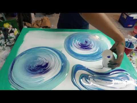 (24) Double ring pour. Acrylic pouring Fluid art, aqua and blue acrylic paint flow art pour painting