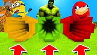 Minecraft PE : DO NOT CHOOSE THE WRONG TUNNEL! (Minion, Hulk & Uganda Knuckles)