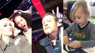 Gwen Stefani with kids on Snapchat | Ft Blake Shelton and Alicia Keys | February 9 2017
