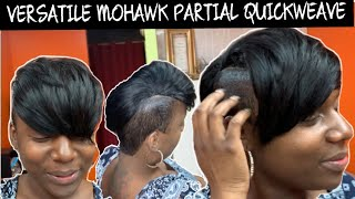 3 IN 1 VERSATILE MOHAWK TUTORIAL | SHORT HAIR SHAVED SIDES PARTIAL QUICKWEAVE