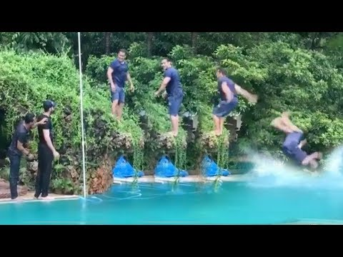 See Salman Khans AMAZING Back Flip Diving STUNT Into Swimming Pool