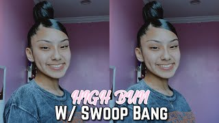 High Bun W/ Swoop Bang