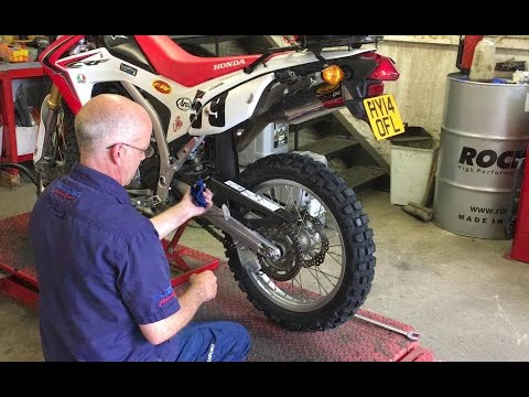 How to replace a motorbike tyre – Honda CRF 250L