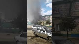 Сильный пожар в Ярославле на Всполенском поле.
