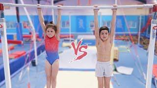GIRLS vs BOYS GYMNASTICS CHALLENGE! **9 year old Super Strength**
